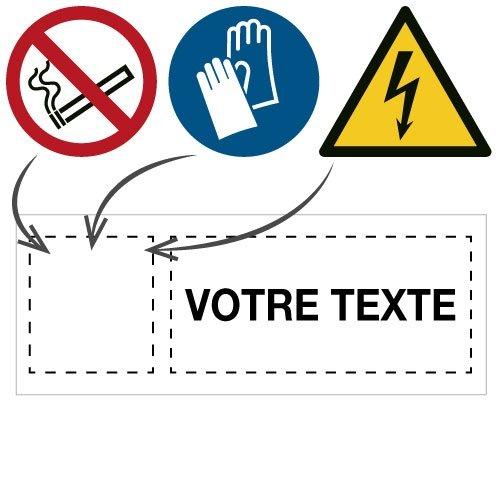 Panneaux et autocollants avec pictogramme et texte personnalisés - Seton