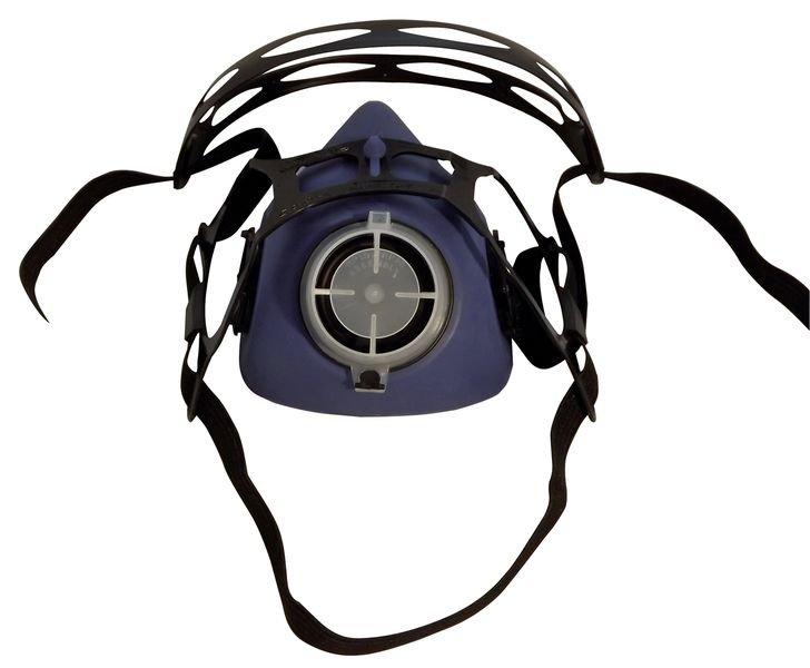Demi-masque de protection respiratoire bi-filtre en élastomère, avec système de fixation click