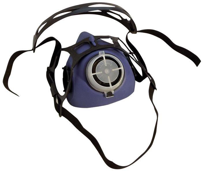 Demi-masque de protection respiratoire bi-filtre en élastomère, avec système de fixation click - Seton