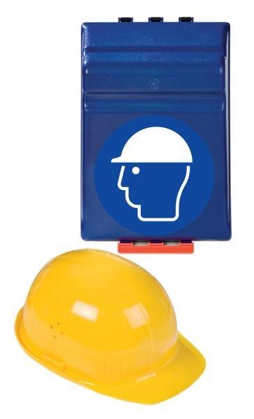 Boîtes de rangement standards pour EPI avec pictogramme Casque de protection obligatoire