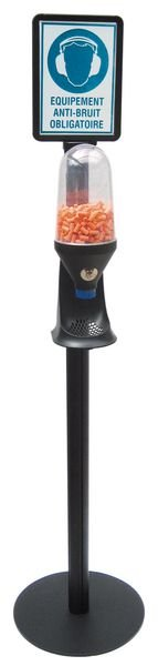 Distributeur d'EPI sur poteau avec signalétique Serre-tête antibruit obligatoire