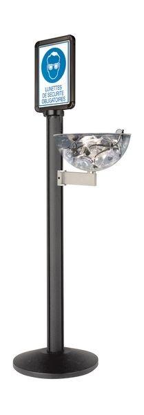 Distributeur d'EPI sur poteau avec signalétique Lunettes de protection obligatoires