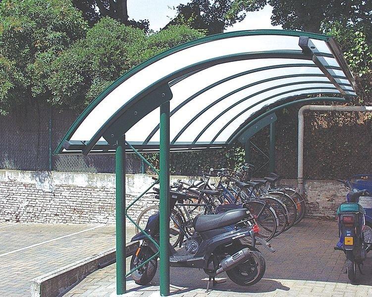 Abris vélos ou fumeurs de 4m avec toit arrondi en demi-lune - Seton