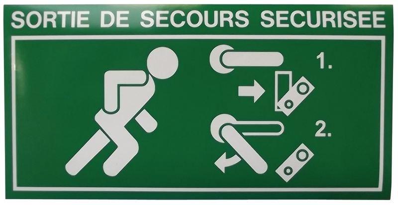 Pictogramme adhésif Homme qui court, flèche à droite pour alarme de porte DAP