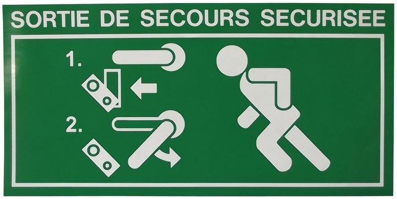 Pictogramme adhésif Homme qui court, flèche à gauche pour alarme de porte DAP