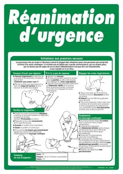 Affiche de premiers secours sur la réanimation d'urgence
