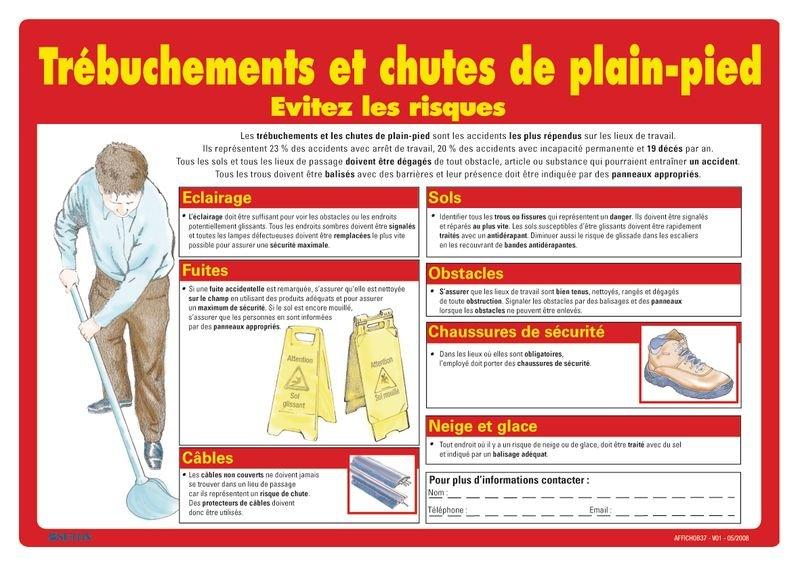 Affiche sur les trébuchements et chutes de plain-pied