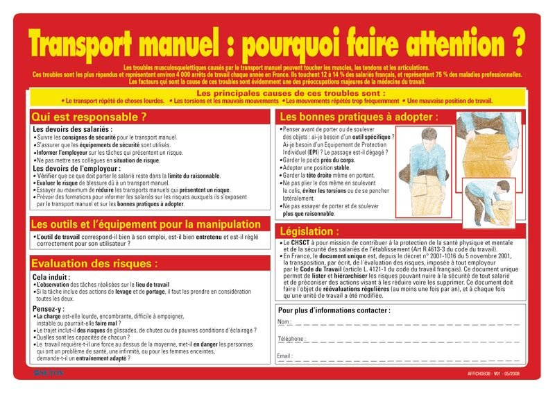 Affiche sur le transport manuel : pourquoi faire attention?
