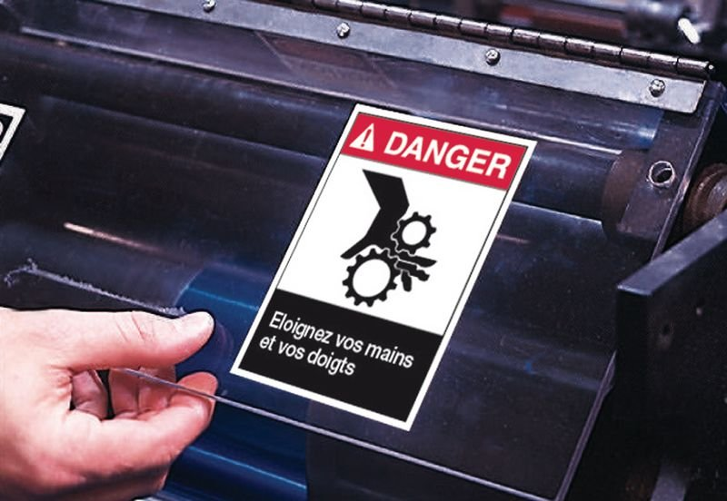 Etiquettes ANSI Z535 Attention - Casque de protection obligatoire - Casques de sécurité et casquettes