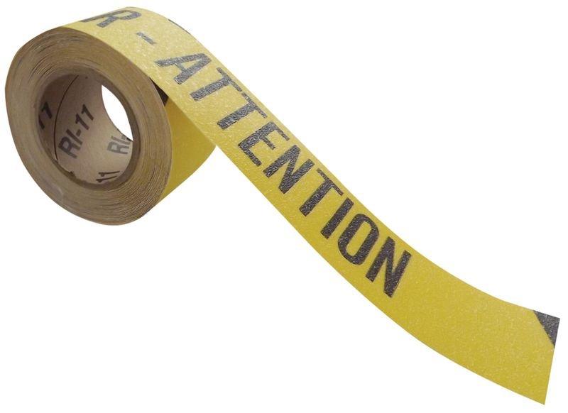 Bandes antidérapantes adhésives en rouleau avec texte  Danger - Attention
