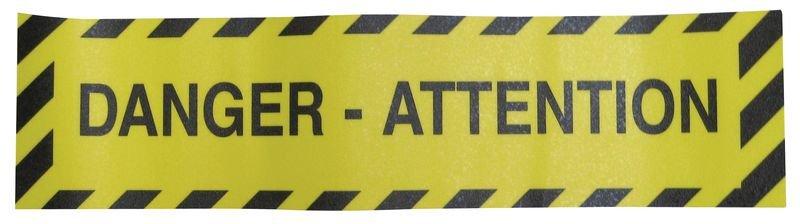 Bandes antidérapantes adhésives prédécoupées avec texte Danger - Attention - Puissance 2