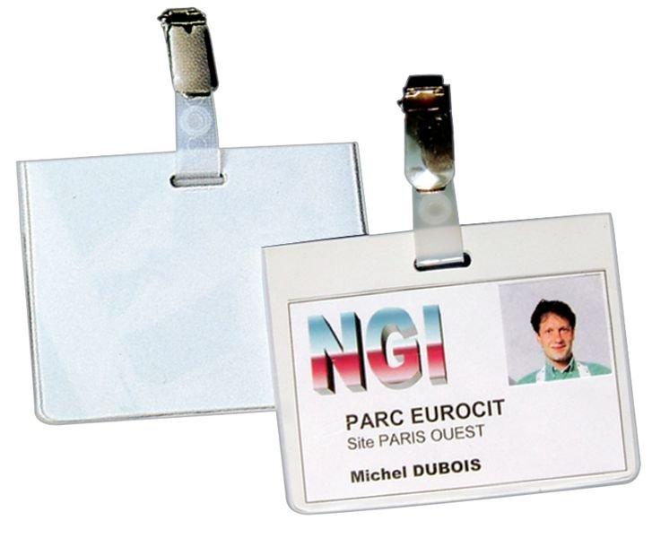 Porte-badge semi-rigide avec dos opaque blanc - Seton