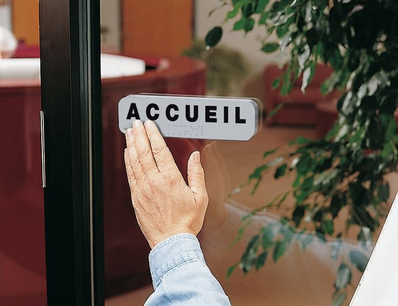 Plaque de porte Accueil en braille - Seton