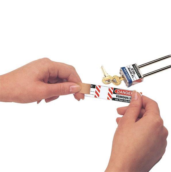 Etiquettes auto-laminantes pour cadenas - Seton