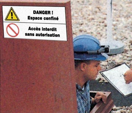 Panneau standard Danger général - Espace confiné - Accès interdit sans autorisation - Seton