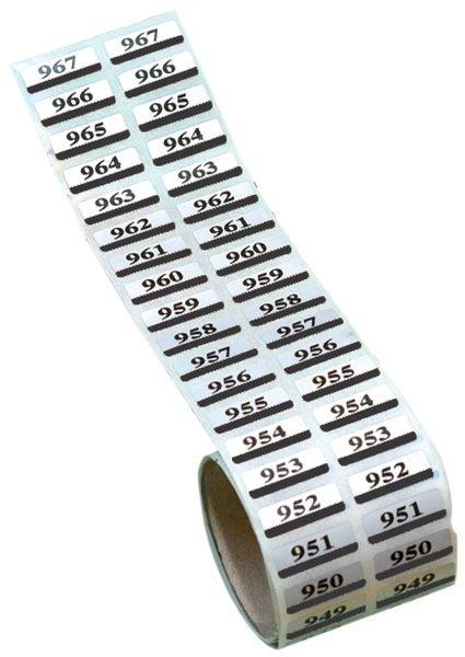 Etiquettes jumelles en polyester métallisé prénumérotées - Etiquettes avec numérotation