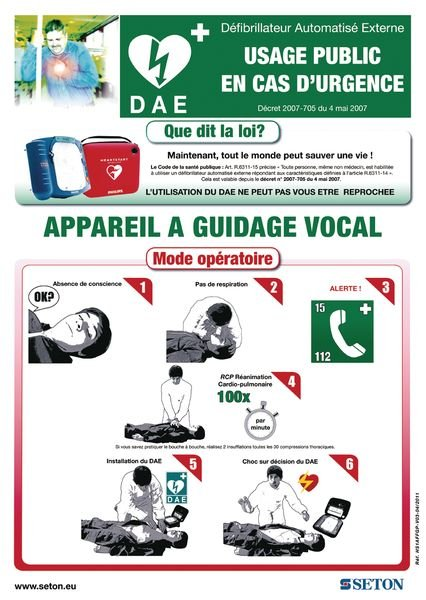 Pack défibrillateur semi-automatique Philips HS1 complet avec signalétique, poster et rangement