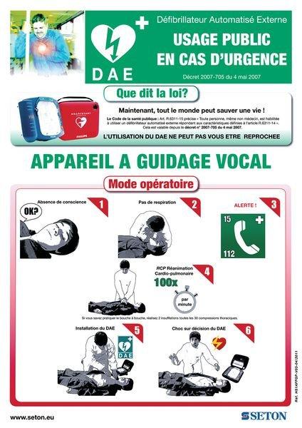 Pack de signalisation pour défibrillateur avec signalétique et poster - Panneaux et pictogrammes de Premiers secours