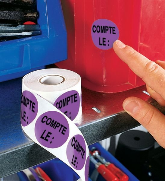 Pastilles d'inventaire avec adhésif permanent Compté le : - Seton