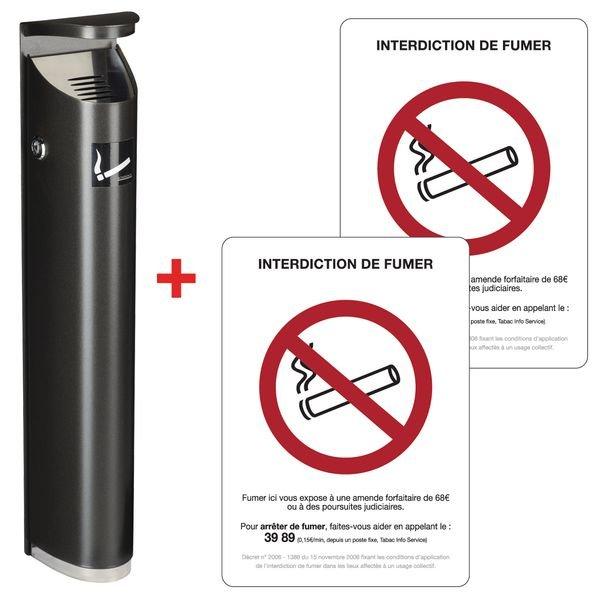 Prix Spécial - Kit 1 cendrier tube et 2 autocollants Interdiction de fumer
