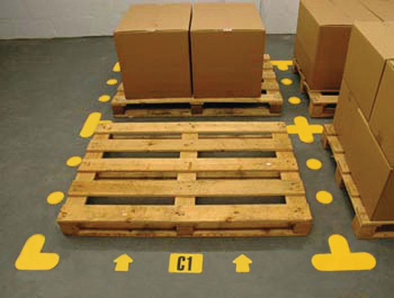 Symboles adhésifs jaunes pour marquage d'emplacement des palettes - Seton
