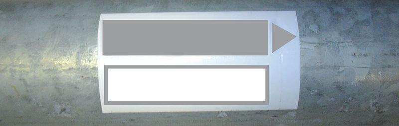 Marqueurs de tuyauteries adhésifs avec deux zones d'écritures
