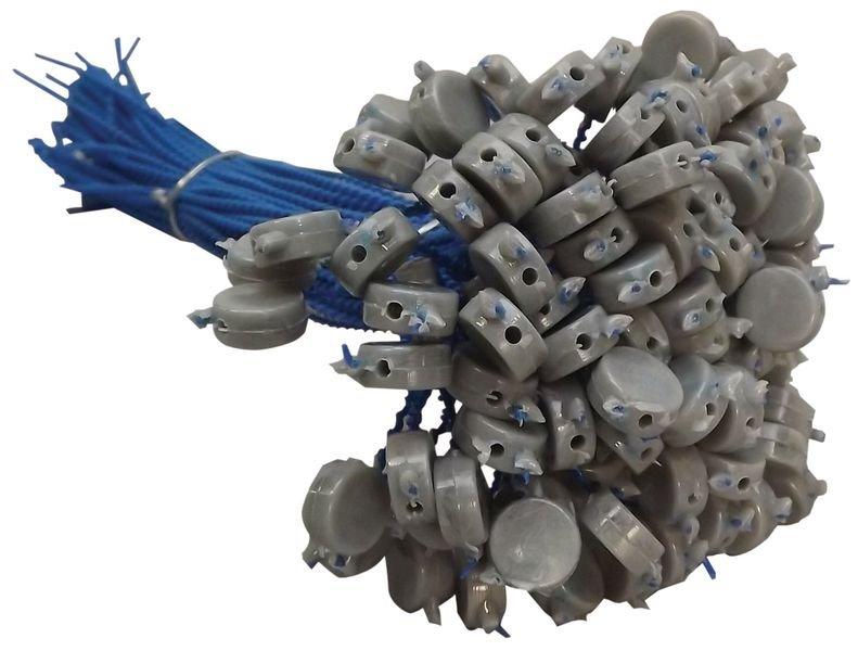 Plombs à sceller en plastique gris sur fil perlé plastique - Plombs et scellés de sécurité
