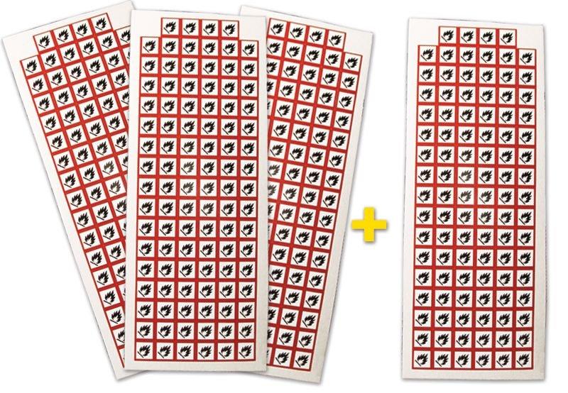 Lot de 4 planches de pictogrammes CLP Matières inflammables (3+1 gratuite)