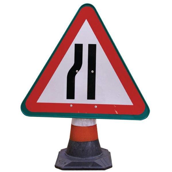 Panneau pour cône de chantier Chaussée rétrécie par la gauche