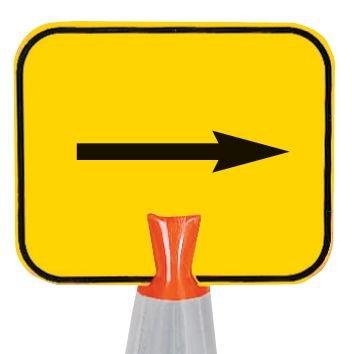 Panneau pour cône de chantier Flèche directionnelle 90°