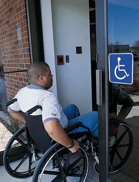 Panneau mural Rampe d'accessibilité handicapés avec texte Rampe d'accès - Pictogrammes et panneaux sur l'accessibilité des handicapés