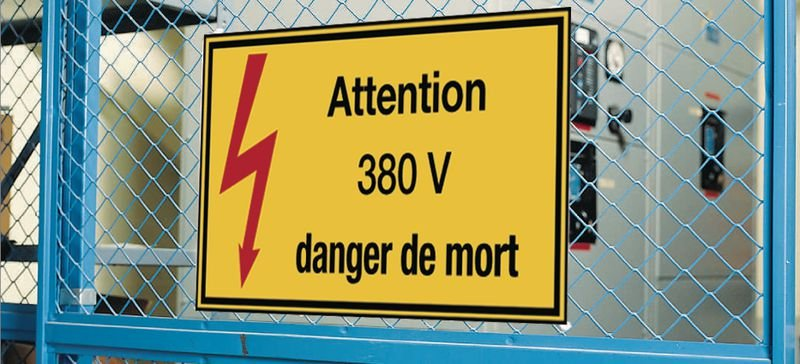 Autocollants de danger électrique rectangulaires - Attention 380 V danger de mort - Seton