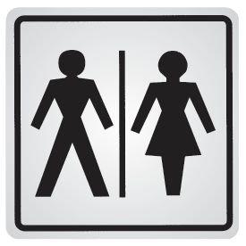 Panneau d'information adhésif en acier Toilettes homme et femme