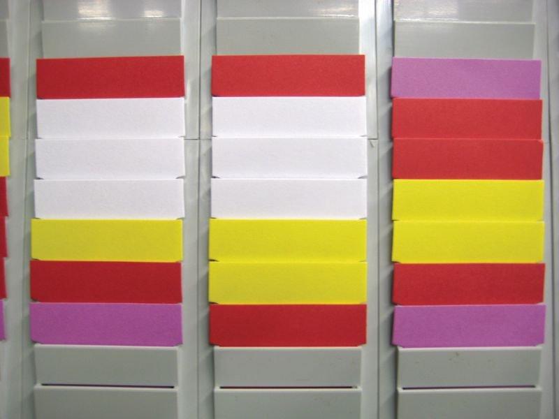Planning annuel à fiches en T, 12 colonnes et 1 colonne porte-références, année - Seton