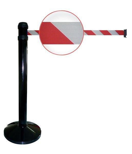 Poteaux noirs à sangle étirable avec rayures blanches et rouges