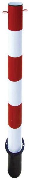 Poteau en métal très résistant rouge et blanc sur socle ou à sceller