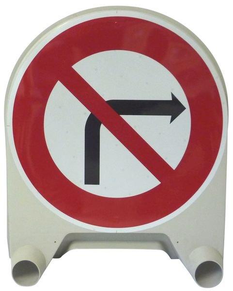 Panneau de signalisation temporaire en polypropylène Interdiction de tourner à droite à la prochaine intersection