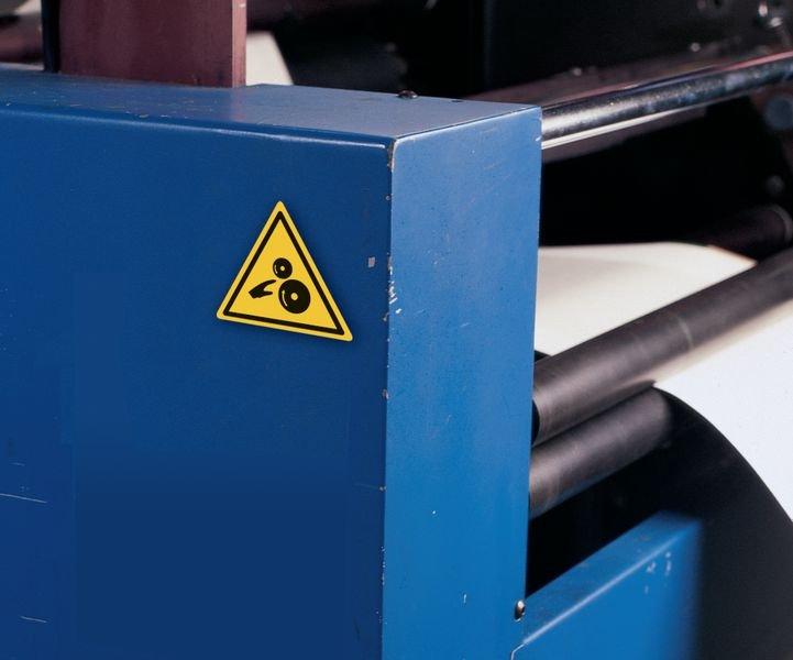 Etiquettes de signalisation pour machines Risque d'écrasement, rouleaux dentés - Seton