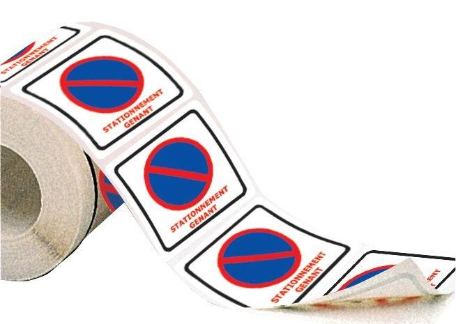 Rouleau d'étiquettes dissuasives Stationnement interdit - Déplacez votre véhicule - Autocollants dissuasifs - interdiction de stationner & stationnement gênant