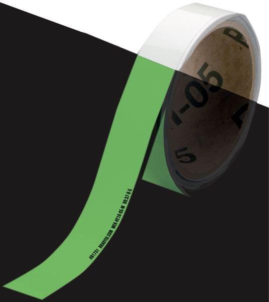 Signalisation de sortie de secours au sol photoluminescente unie ou hachurée en rouleau