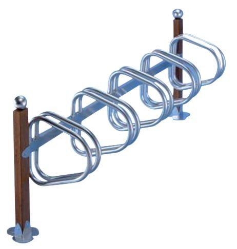 Range vélos sur pieds en bois et métal pour 5 vélos