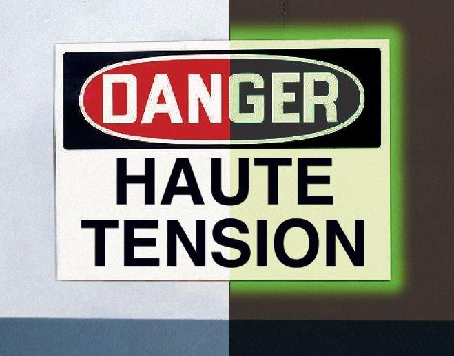 Panneau d'avertissement photoluminescent type OSHA Danger - Haute tension