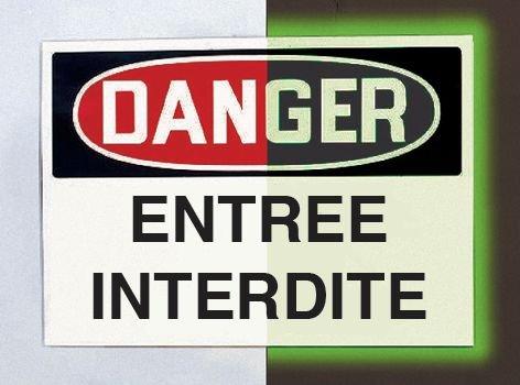 Panneau d'avertissement photoluminescent type OSHA Danger - Coupure générale d'électricité