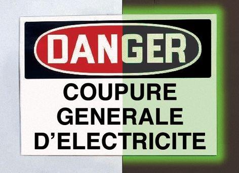 Panneau d'avertissement photoluminescent type OSHA Danger - Entrée interdite