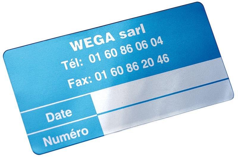 Etiquettes SetonGuard en aluminium anodisé formats spécifiques