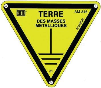 Panneau Alumetal™ Danger, mise à la terre - Terre des masses métalliques