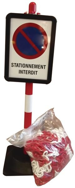 Lot de poteaux à chaînes avec panneau stationnement interdit