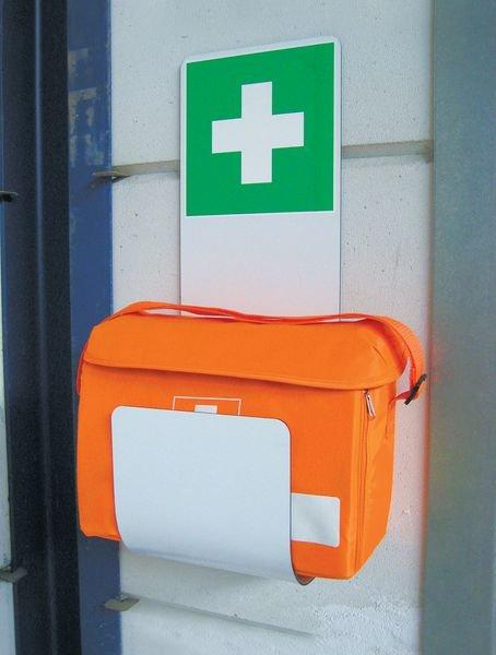 Station trousse de secours avec support - Station de secours : trousse premiers secours garnie et support