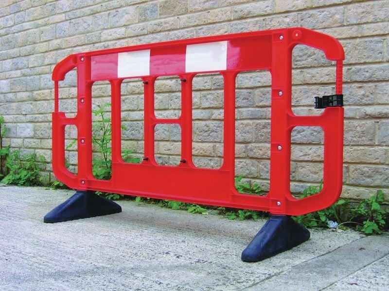 Barrière de sécurité chantier Titan rouge et blanche sans métal - Matériel et signalétique pour chantier