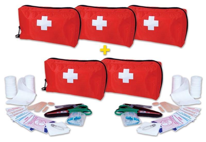Lot de 5 trousses de secours individuelles (3+2 gratuites)